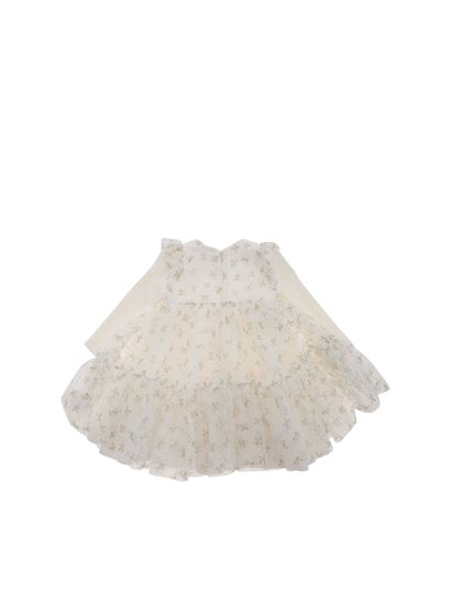 Monnalisa Chic - Long sleeves tulle dress in white