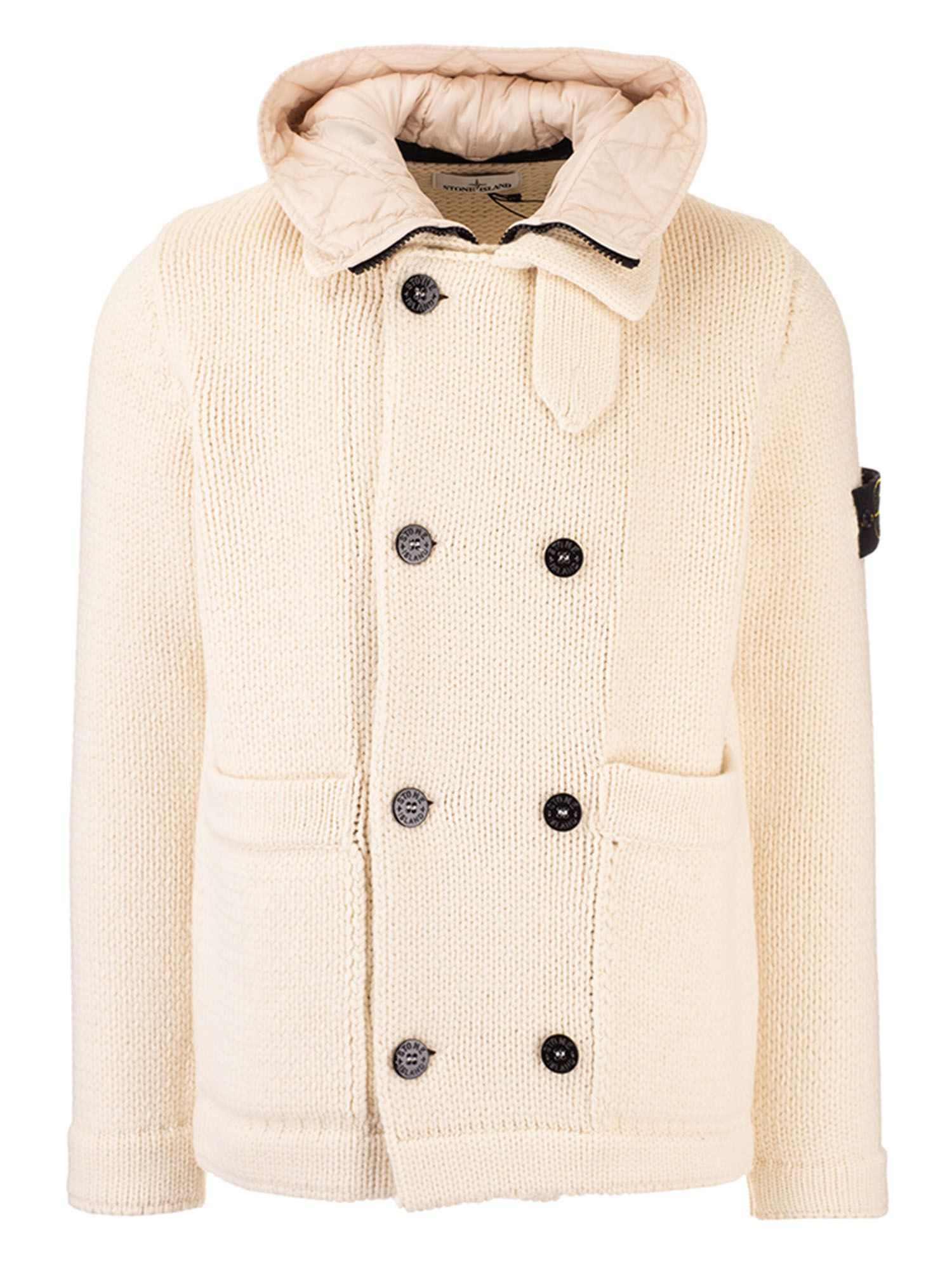 Stone Island DOUBLE-BREASTED CARDIGAN IN BUTTER COLOR