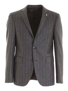 Brando - Striped pattern single-breasted suit in grey