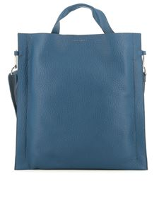 Orciani - Soft grainy leather flat tote in blue
