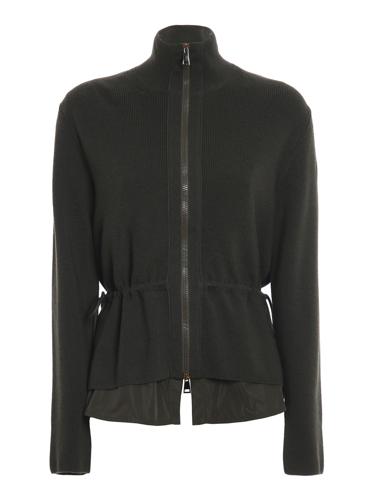 Moncler PADDED FRONT CARDIGAN IN GREEN