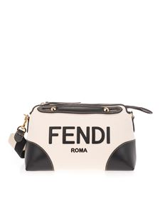 Fendi - By The Way medium logo bag in white and black