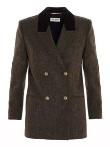 Saint Laurent - Blazer doppiopetto marrone melange