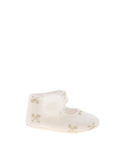 Monnalisa Chic - Bow print shoes in white
