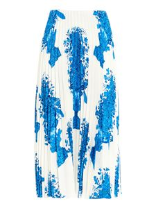 Valentino - Blue print pleated skirt in white