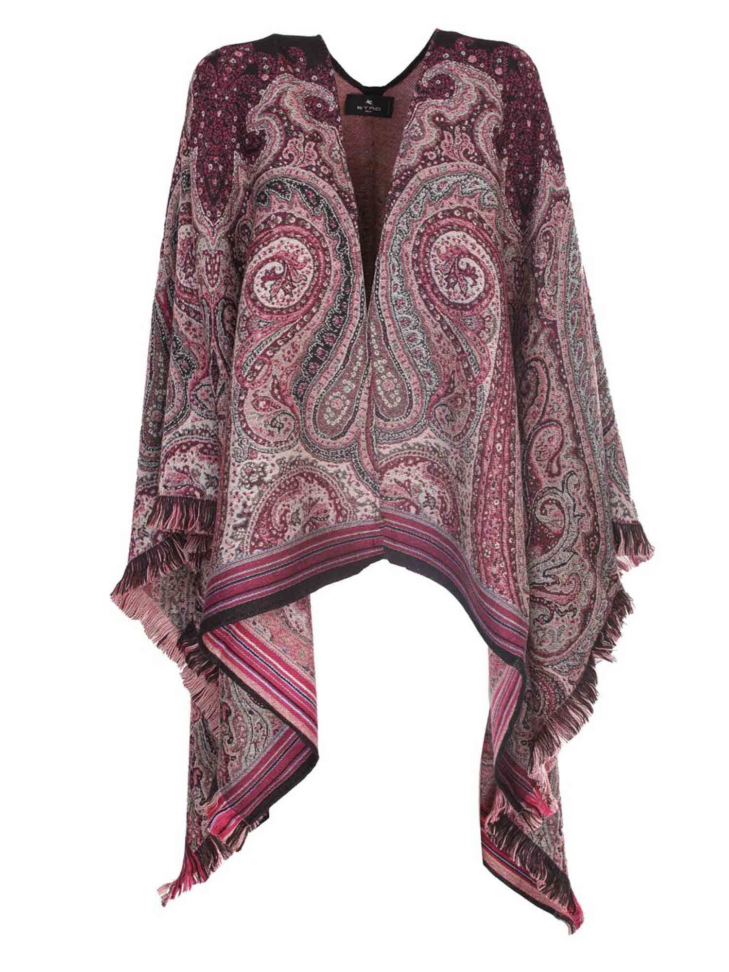 Etro JACQUARD CAPE IN PATTERNED WOOL IN RED