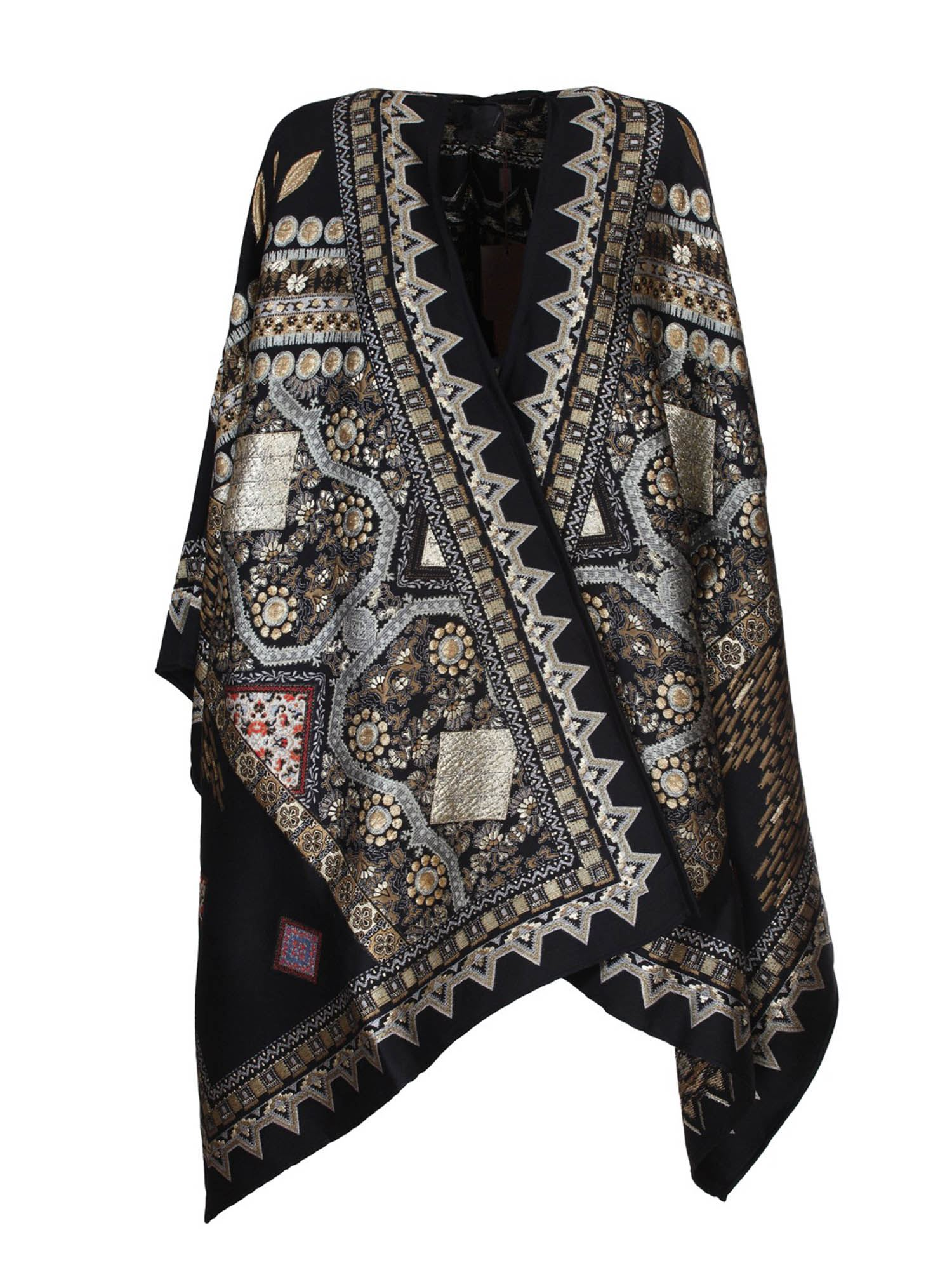 Etro PATTERNED JACQUARD WOOL CAPE IN BLACK