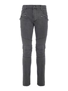 Balmain - Vintage effect skinny jeans in grey