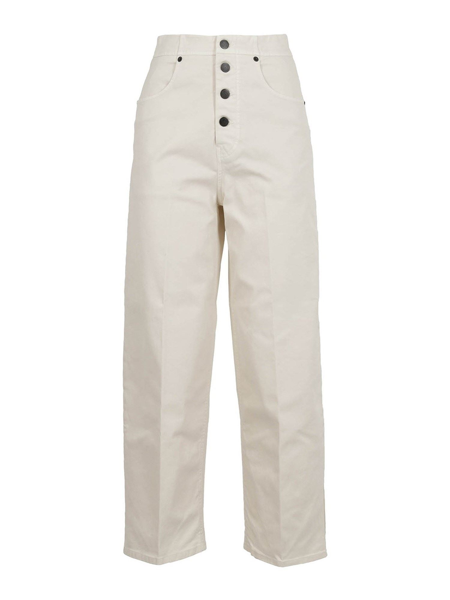 Department 5 HIGH WAISTED GABARDINE TROUSERS IN WHITE
