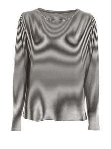Majestic Filatures - Striped long sleeves T-shirt in black and white