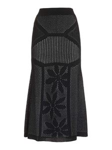M Missoni - Embroidery effect pattern skirt in black
