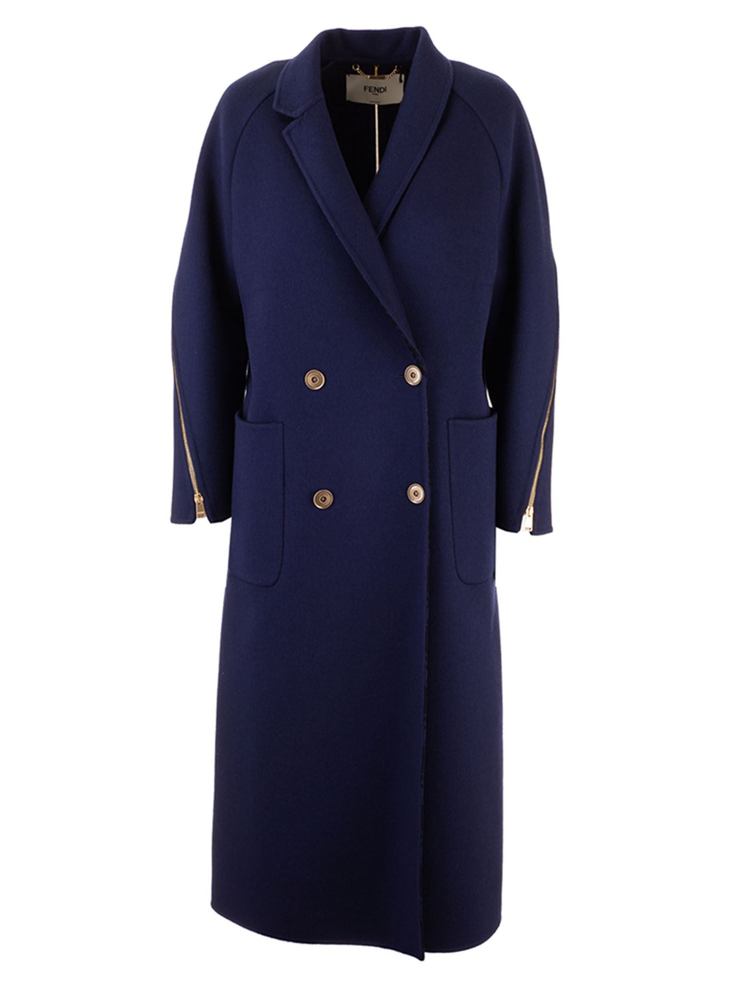 Fendi MAXI ZIP COAT IN BLUE