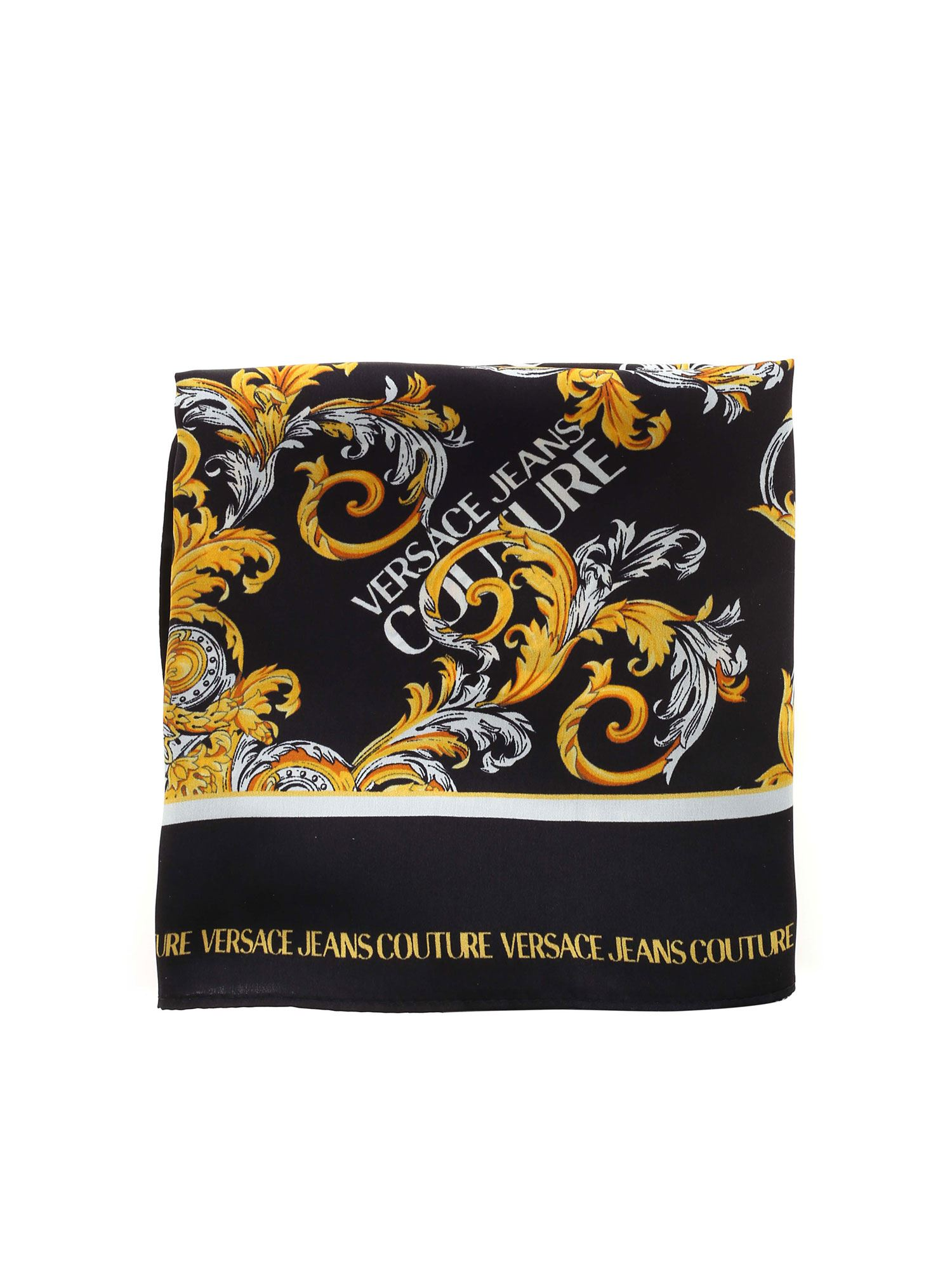 Versace Jeans Couture BAROQUE PRINT SCARF IN BLACK