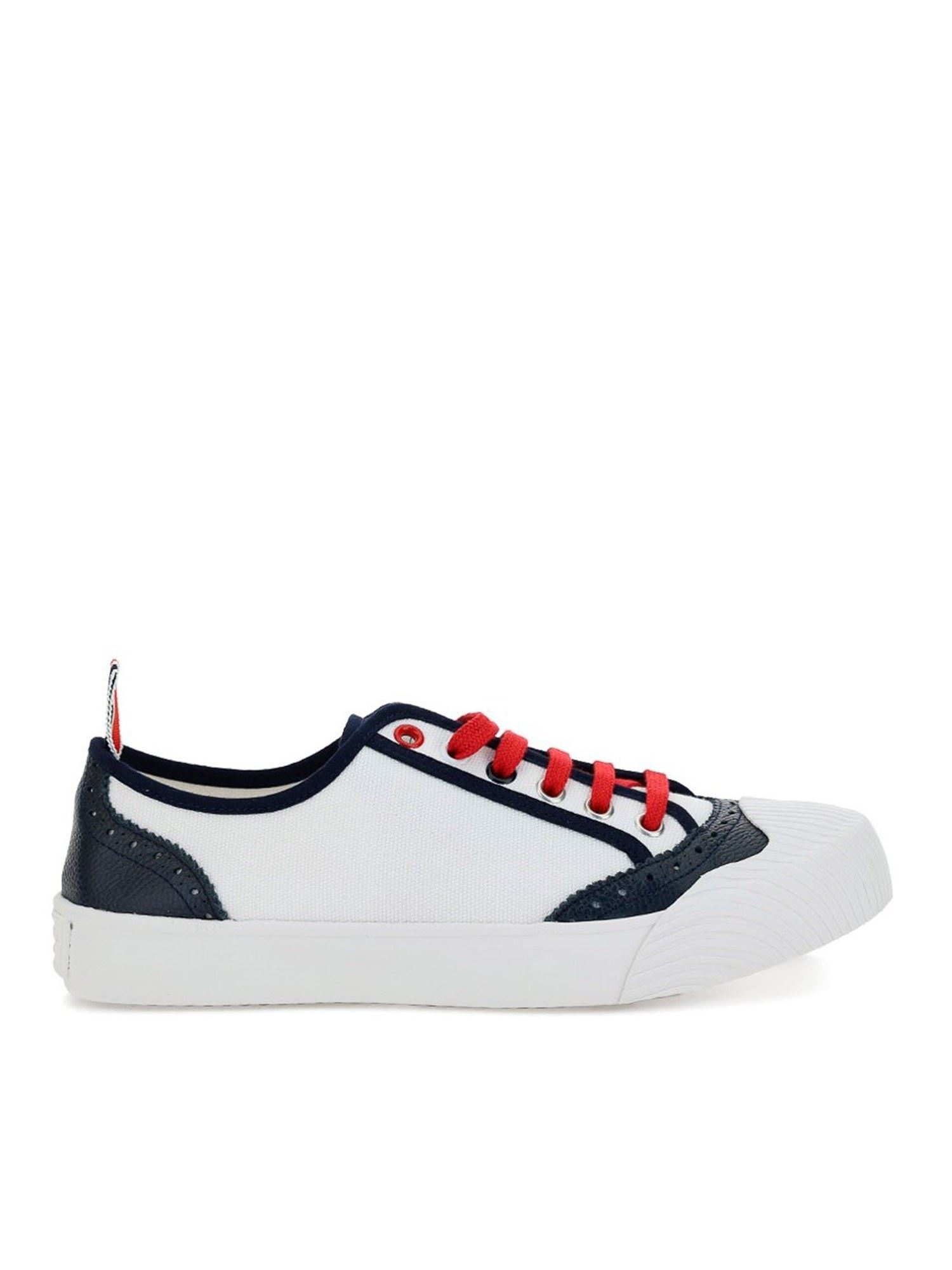 THOM BROWNE CONTRASTING PIPING SNEAKERS IN WHITE