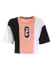 Fila - Basma cropped t-shirt in pink and black