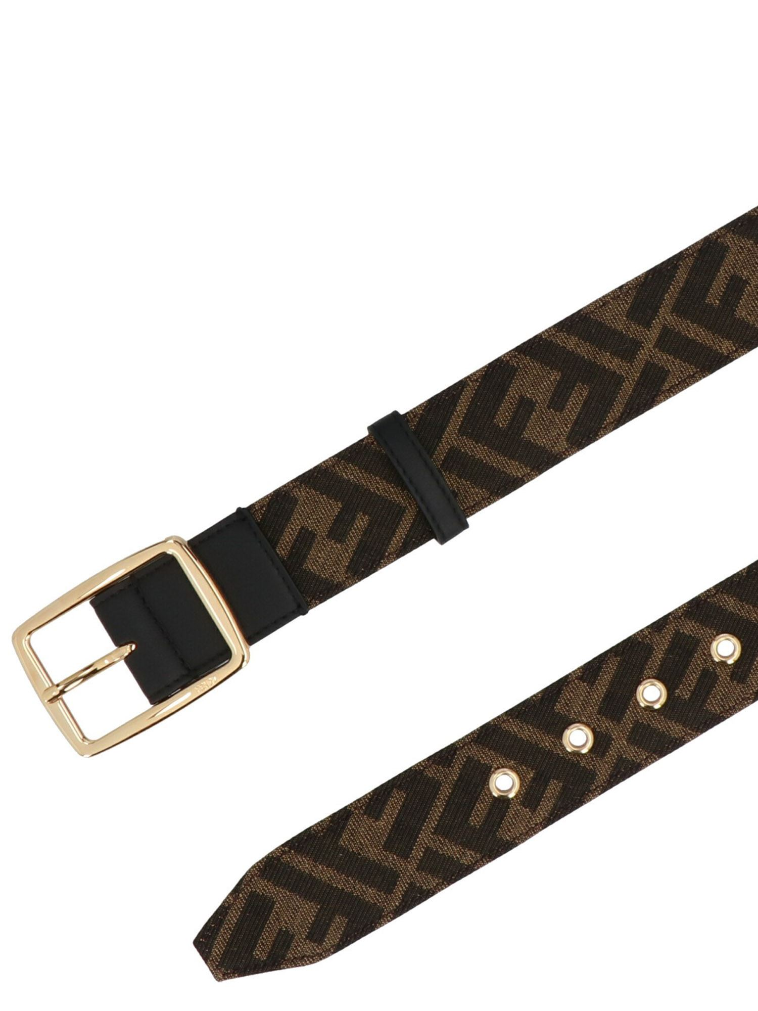 Fendi FF BELT IN BROWN AND BLACK