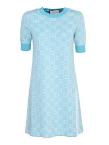 Gucci - Dress in wool and cotton pique in light blue