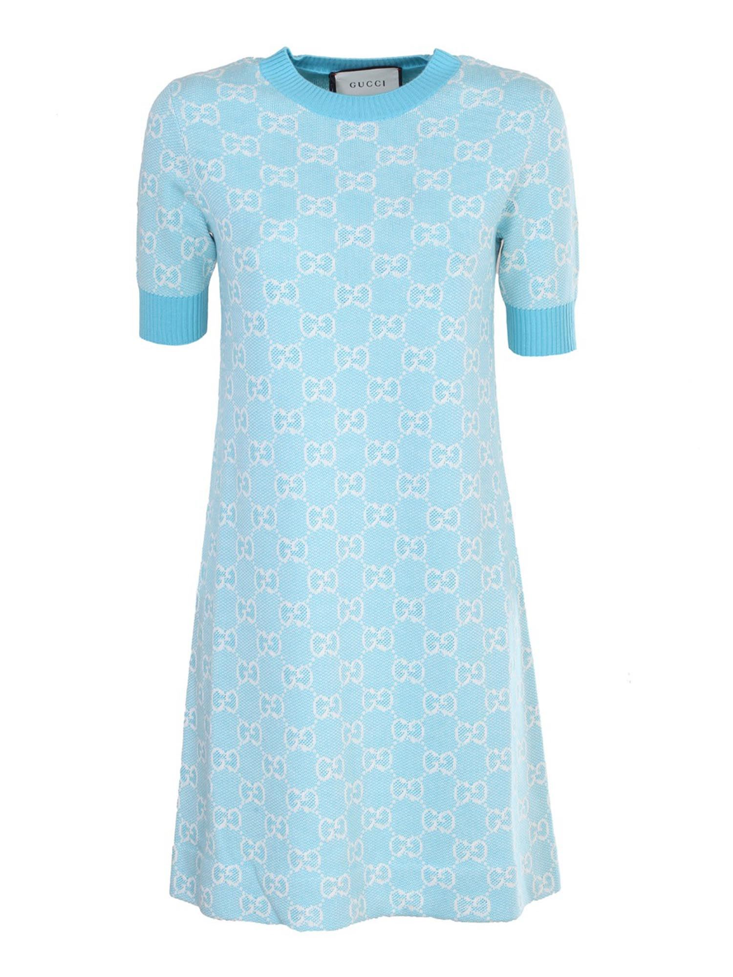 Gucci DRESS IN WOOL AND COTTON PIQUE IN LIGHT BLUE