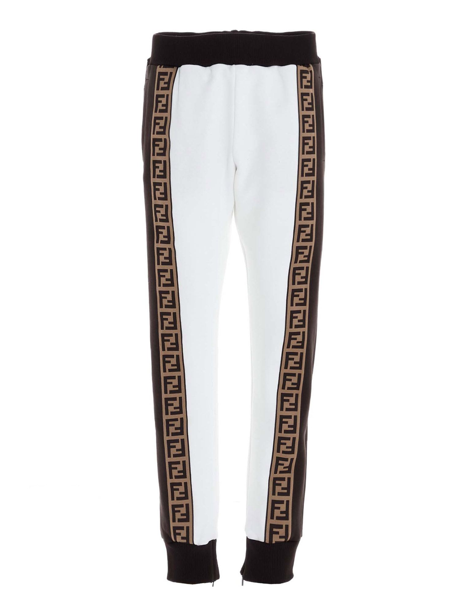 Fendi FF BANDS TRACK PANTS IN WHITE