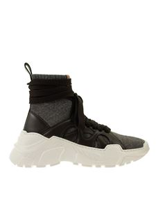 Agnona - Leather and fabric sock sneakers in black