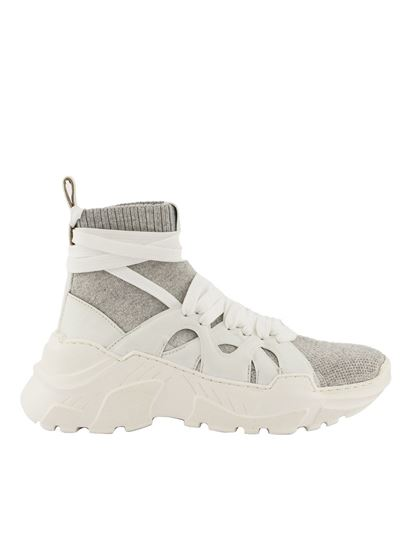 Agnona - Leather and fabric sock sneakers in white