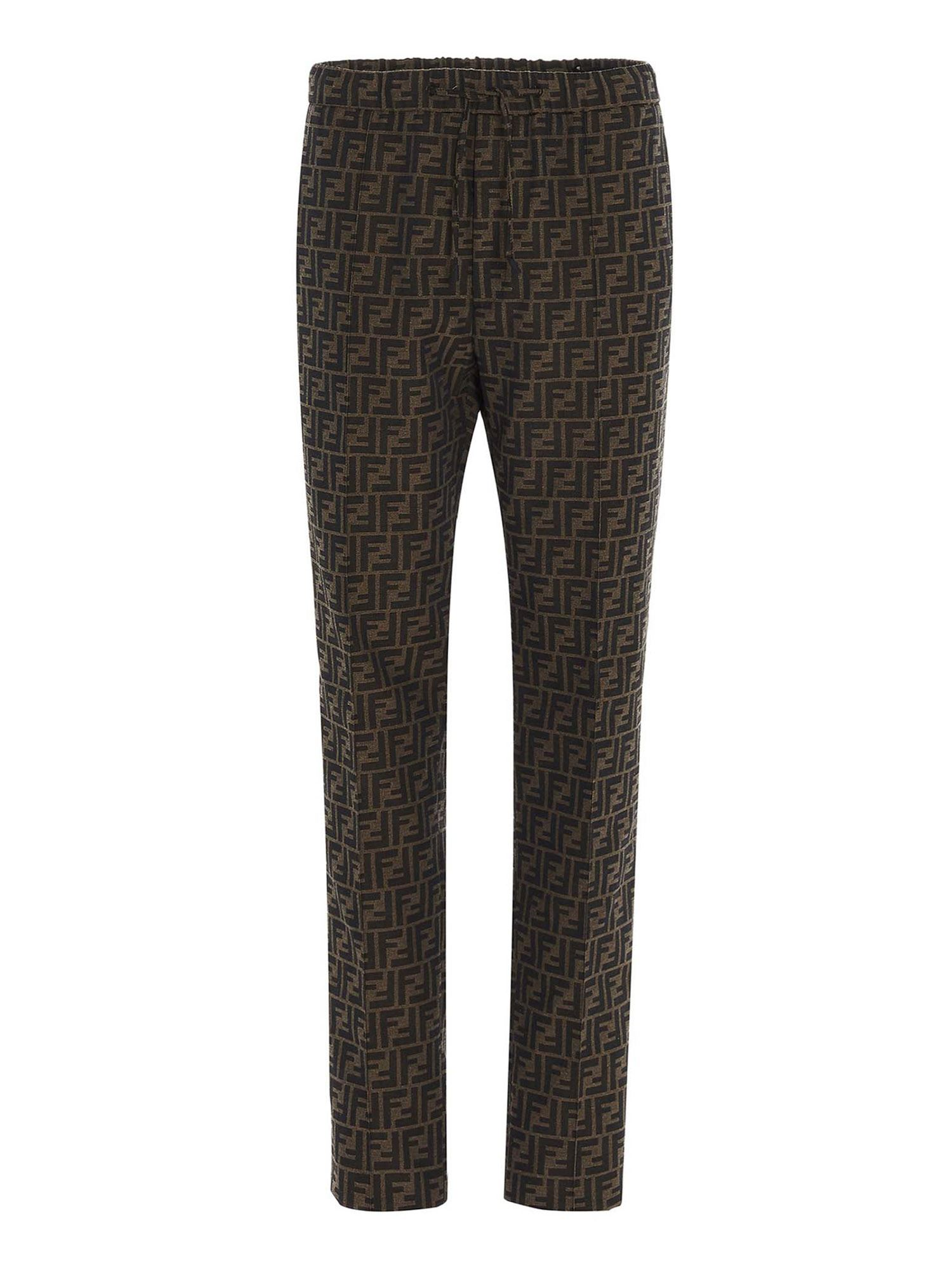 Fendi FF COULISSE PANT IN BROWN
