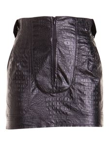 Amen - Croco print faux leather skirt in black
