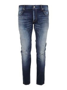 Balmain - Five pockets faded effect denim jeans in blue