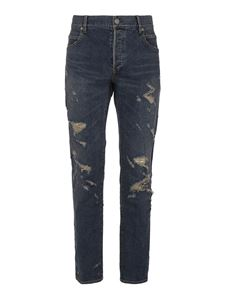 Balmain - Cotton blend skinny jeans in blue