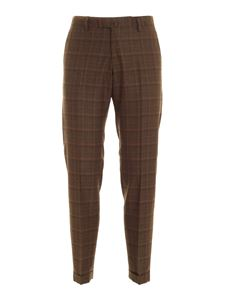 Briglia 1949 - Checked pattern pants in melange brown