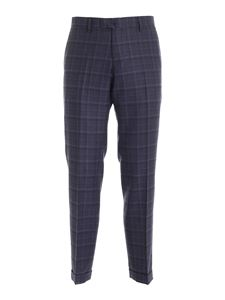 Briglia 1949 - Checked pattern pants in melange blue