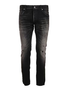 Balmain - Five pockets faded effect denim jeans in black
