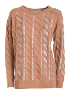 Blumarine - Rhinestone cable-knit jumper in brown