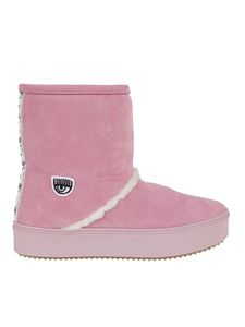 Chiara Ferragni - Suede boot with logo band in pink