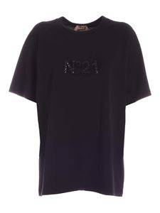 N° 21 - Rhinestone logo t-shirt in black