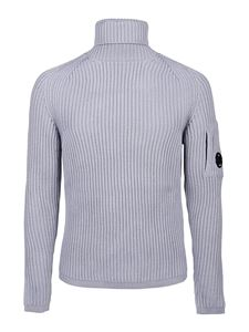 CP Company - Ribbed turtleneck with lens in light blue