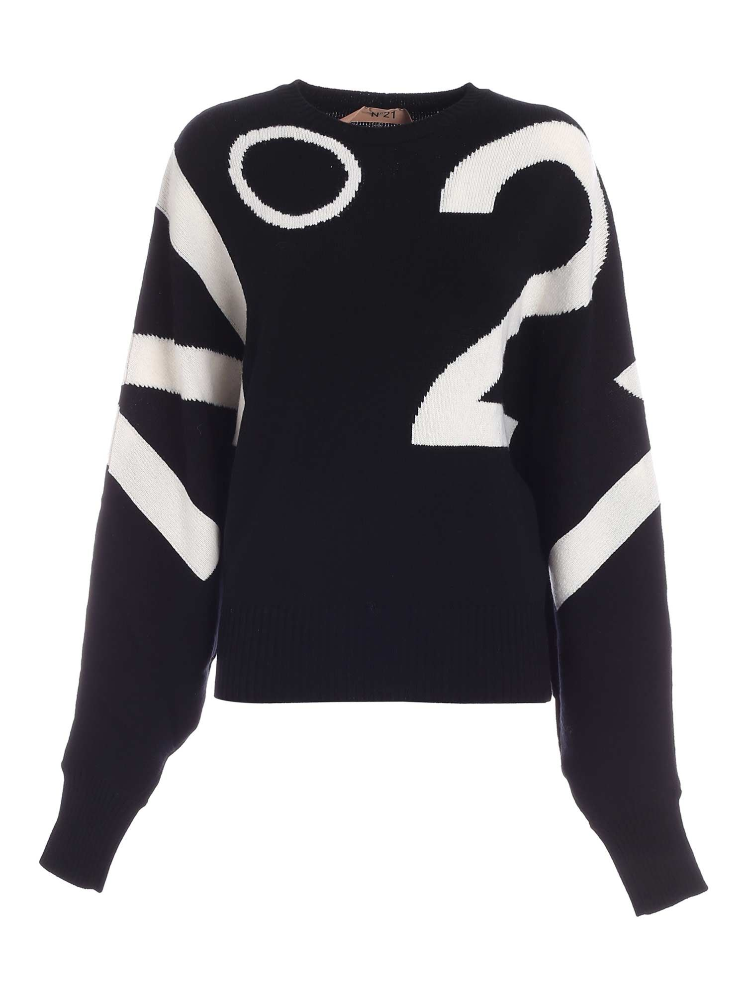 N°21 WHITE PATTERN PULLOVER IN BLACK