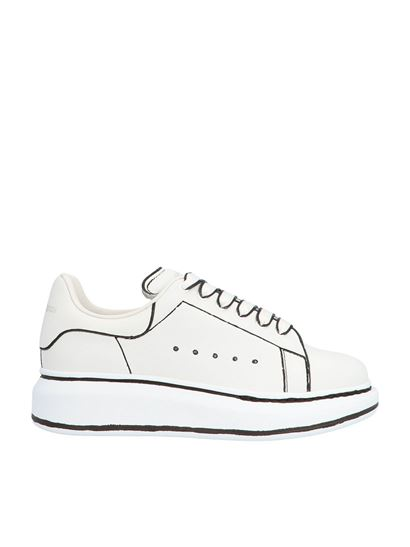 Alexander McQueen Kids - Oversize sole sneakers in white and black