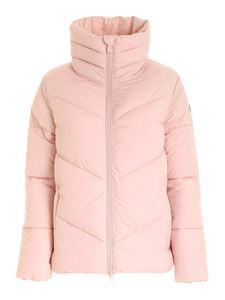 Save the duck - Logo patch puffer jacket in powder pink