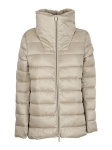 Save the duck - Faux fur collar nylon puffer jacket in beige
