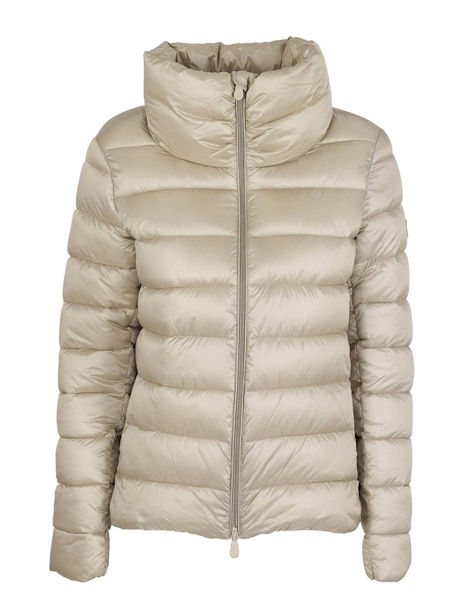 Save The Duck FUNNEL COLLAR NYLON PADDED JACKET IN BEIGE