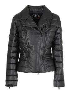 Save the duck - Quilted biker jacket style puffer jacket in black
