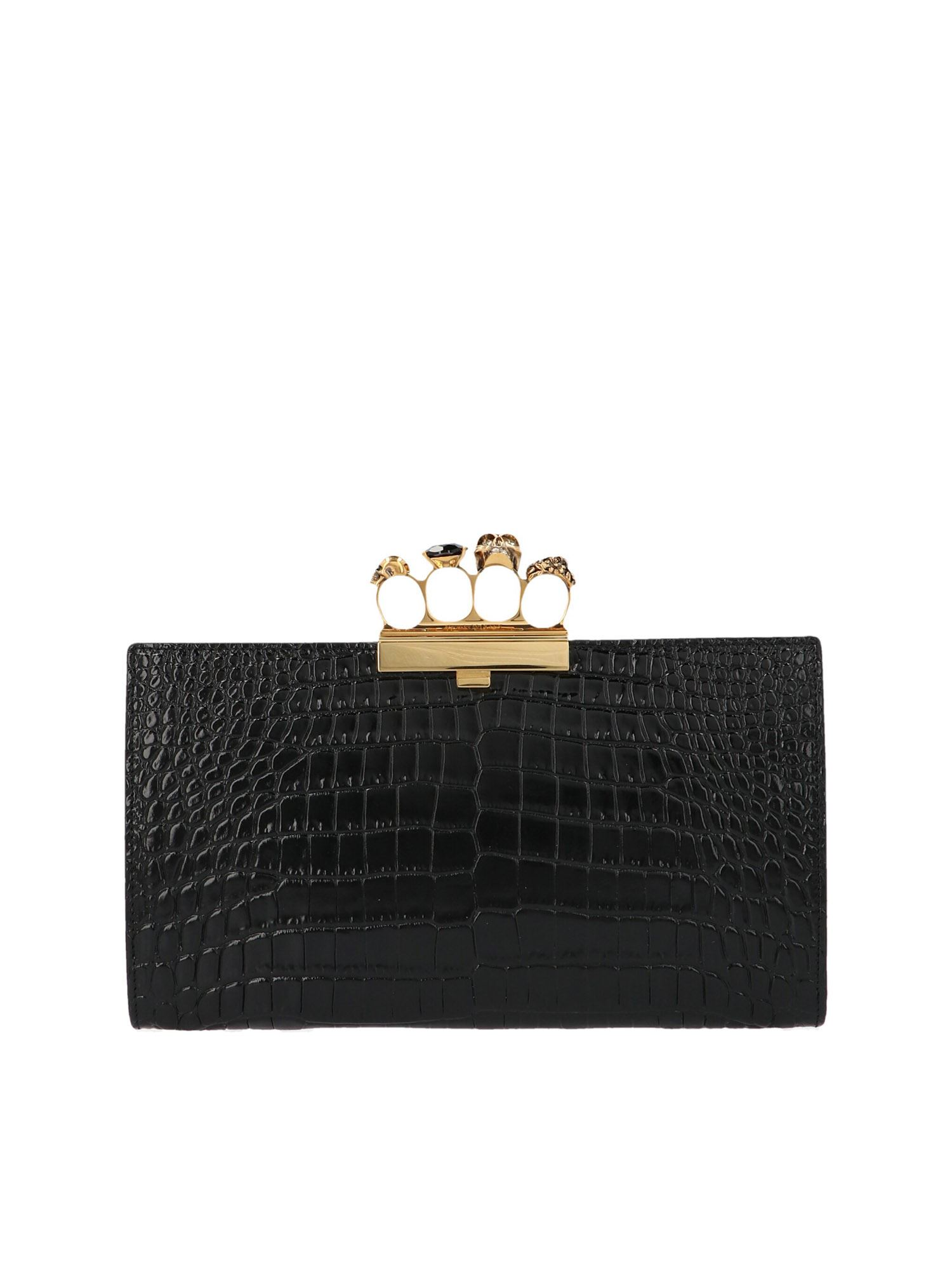 Alexander Mcqueen ALEXANDER MCQUEEN SKULL FOUR RINGS CLUTCH IN BLACK