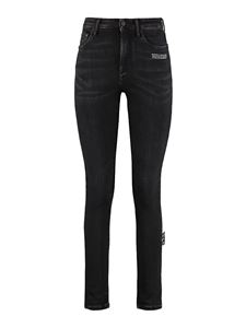 Off-White - Embroidered skinny jeans in black