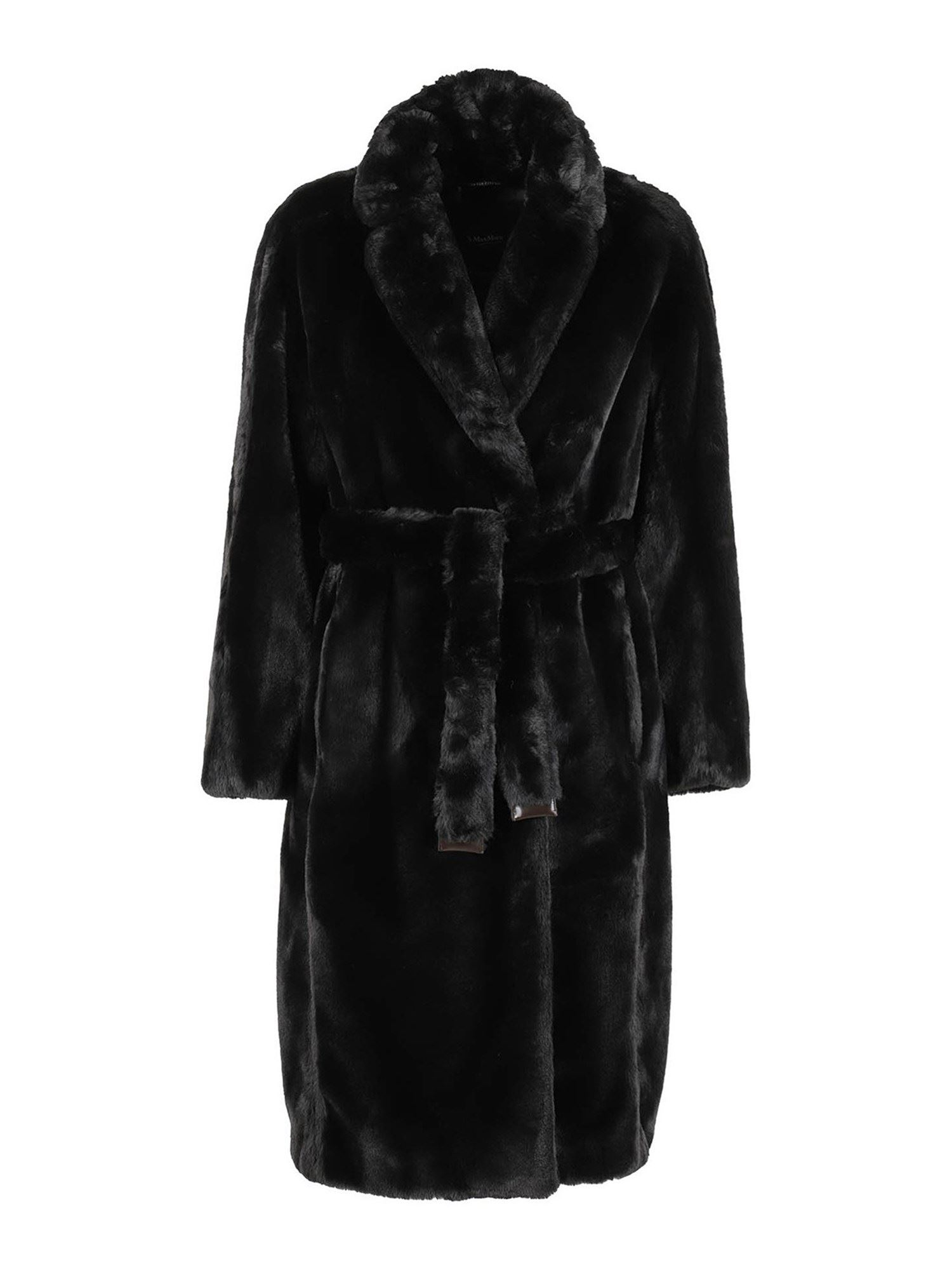 Max Mara ADORATO FUR EFFECT COAT IN BLACK