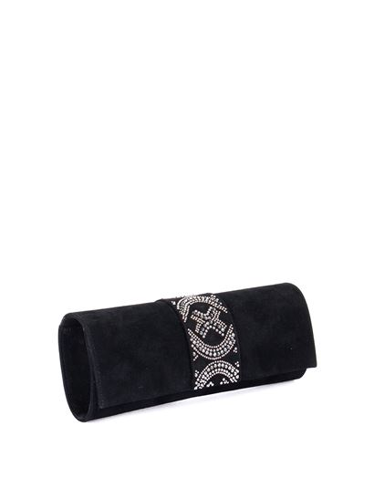 Loriblu - Strass trim suede clutch in black