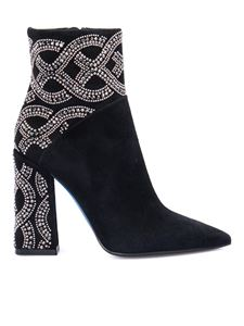 Loriblu - Strass-embellished suede booties in black
