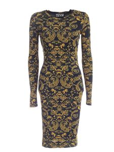 Versace Jeans Couture - Abito nero con stampa Paisley Loop