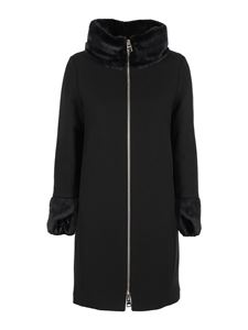 Herno - Faux fur detailed cloth padded coat in black