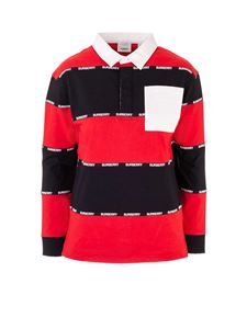 Burberry - Logo tape striped polo shirt in red and black